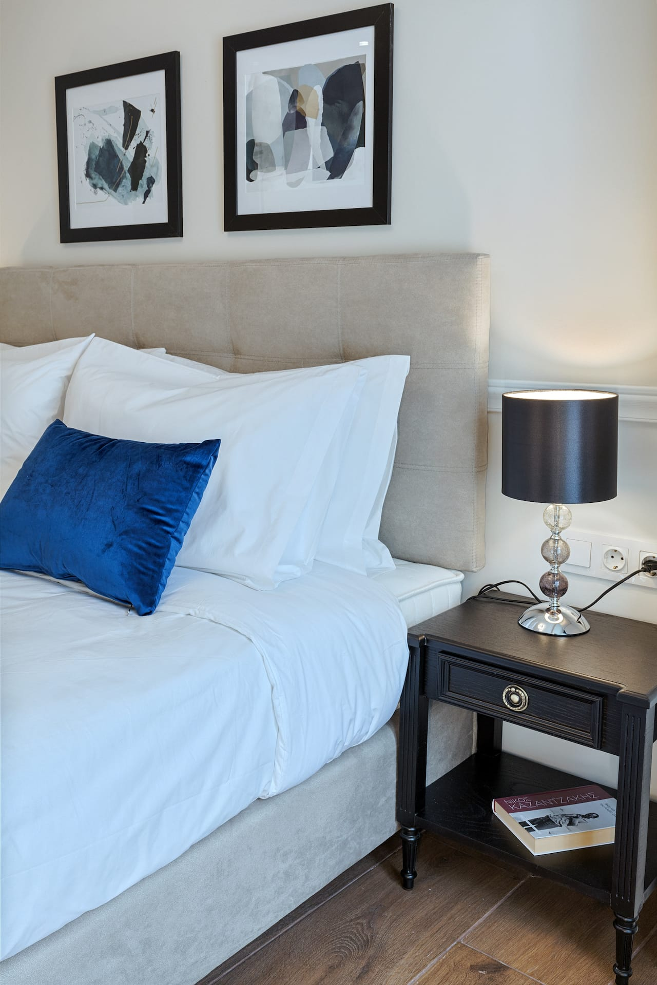 The Deluxe Room Hot Tub bedside table with lamp. Luxury double rooms in the center of Athens, Greece